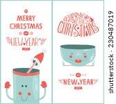 vector christmas greeting card... | Shutterstock .eps vector #230487019