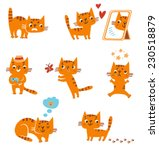 funny red kitten in different... | Shutterstock .eps vector #230518879