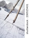 compasses and blueprint | Shutterstock . vector #230525431