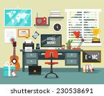 workplace in room. vector flat... | Shutterstock .eps vector #230538691
