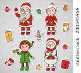 stickers with christmas and new ... | Shutterstock .eps vector #230545939