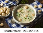 Small photo of Homemade Oyster Stew with Parsley and Crackers