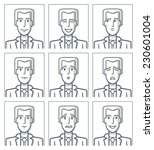 facial expressions of a young... | Shutterstock .eps vector #230601004