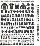 set of 155 icons  clothing ... | Shutterstock .eps vector #230608531