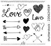 ink hand drawn doodle love set. ... | Shutterstock . vector #230624569