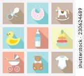 vector flat baby icons set | Shutterstock .eps vector #230624689