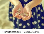 Child Hands Holding Sea Shells...