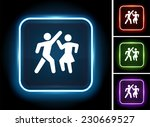people dancing on glow square... | Shutterstock .eps vector #230669527