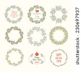 christmas wreaths set. merry... | Shutterstock .eps vector #230697937