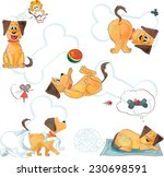 a cute red and yellow dog with... | Shutterstock .eps vector #230698591