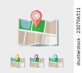 flat map icon | Shutterstock .eps vector #230706511