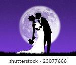 bride and groom kissing in the... | Shutterstock . vector #23077666