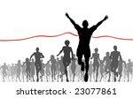 Editable vector illustration of a man winning a race - stock vector