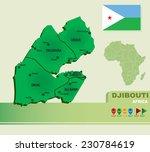 djibouti vector map   flag