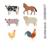 Farm Animals Set In Flat Vector ...