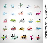 music icons set   isolated on...