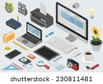 flat 3d isometric computerized... | Shutterstock .eps vector #230811481