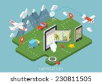 flat map mobile gps navigation... | Shutterstock .eps vector #230811505