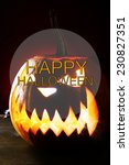 halloween pumpkin on table on... | Shutterstock . vector #230827351