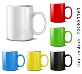 cups of various colors on a... | Shutterstock .eps vector #230831161
