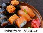 menu of assorted sushi with... | Shutterstock . vector #230838931