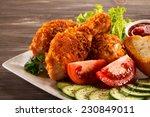 fried chicken drumsticks and... | Shutterstock . vector #230849011