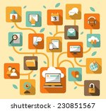 laptop with stylized tree ... | Shutterstock .eps vector #230851567