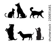 Stock vector cats and dogs set vector silhouette 230851681