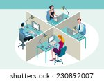 four office workers in a office ... | Shutterstock .eps vector #230892007