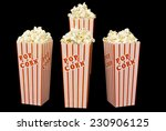 full boxes of popcorn on black... | Shutterstock . vector #230906125