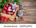 christmas red balls and ribbons ... | Shutterstock . vector #230916991
