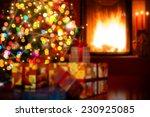Art Christmas Scene With Tree...