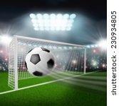 soccer ball flies into the goal   Shutterstock . vector #230934805