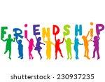 children silhouettes holding... | Shutterstock .eps vector #230937235