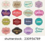 vector set of 15 of vintage... | Shutterstock .eps vector #230956789