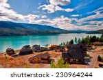 homes on kalamalka lake ... | Shutterstock . vector #230964244