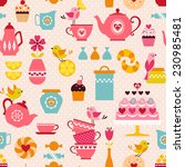 cute tea time pattern with... | Shutterstock .eps vector #230985481