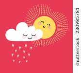 cute valentine card with sun ... | Shutterstock .eps vector #230985781