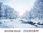 Winter Nature Landscape. Snowy...