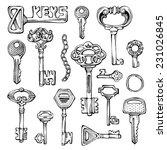 set of vector vintage keys.... | Shutterstock .eps vector #231026845