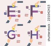 letter e  f  g  h flat... | Shutterstock .eps vector #231042415
