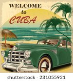 welcome to cuba retro poster. | Shutterstock .eps vector #231055921