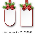 christmas gift cards with red... | Shutterstock .eps vector #231057241
