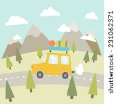 road trip. mountain landscape. | Shutterstock .eps vector #231062371
