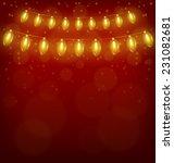 yellow led christmas lights... | Shutterstock .eps vector #231082681
