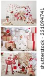 Small photo of assortment with iceman and white christmas tree with red and silver balls, candle, basket