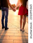 couple hand by hand at sunset.... | Shutterstock . vector #231095365
