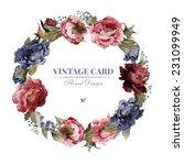 wreath of peonies  watercolor ... | Shutterstock . vector #231099949