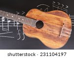 Vintage Guitars On Chalkboard...