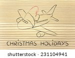 airplane with santa claus hat ... | Shutterstock . vector #231104941